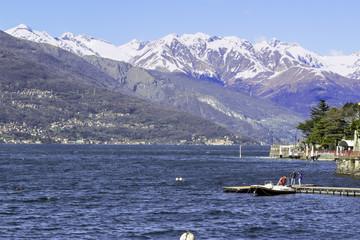 Lecco, lake panorama color image