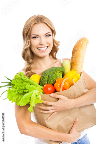 Woman with vegetarian food, on white