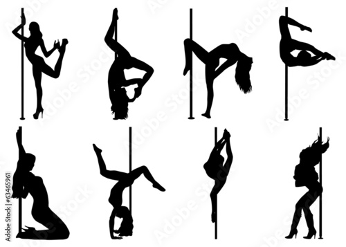 Pole dance women silhouettes