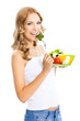 canvas print picture - Woman with vegetarian salad, over white