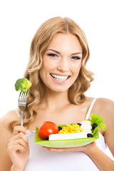Woman with vegetarian salad, over white