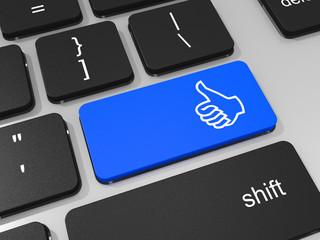 Like symbol key on keyboard of laptop computer. Social concept.