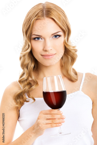 Young happy woman with glass of red wine