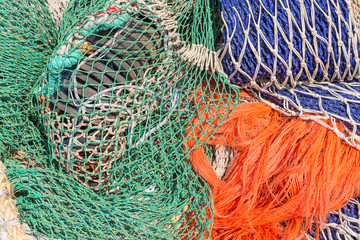 Background of colorful fishing nets