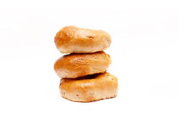 Cinnamon and raisin bagels isolated