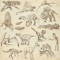 Dinosaurs no.2 - on old paper, full sized hand drawn set