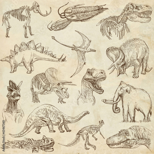 Dinosaurs no.3 - on old paper, full sized hand drawn set