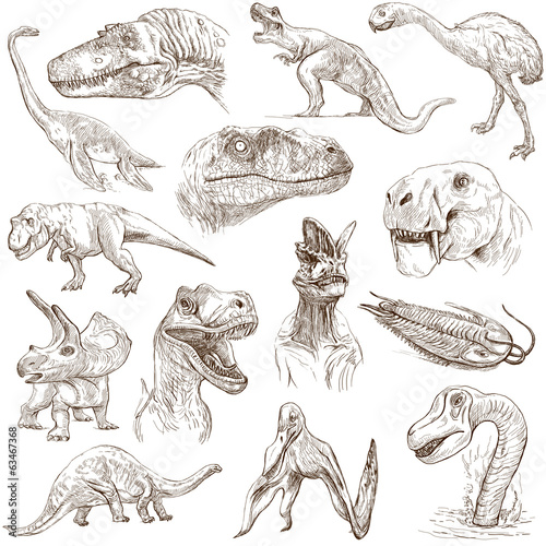 Dinosaurs no.1 - illustrations, full sized hand drawn set