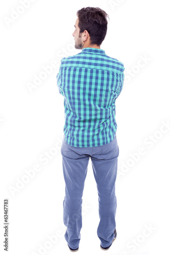 Casual man from the back, isolated on white background