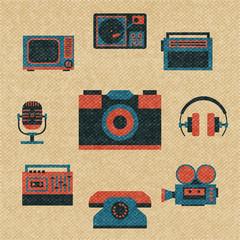 vintage media icons