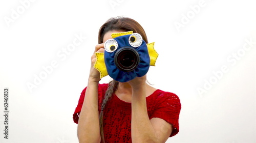Woman Child Photographer Fish Puppet