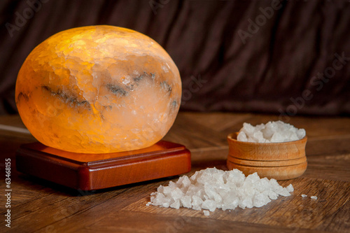 sea salt and salt lamp