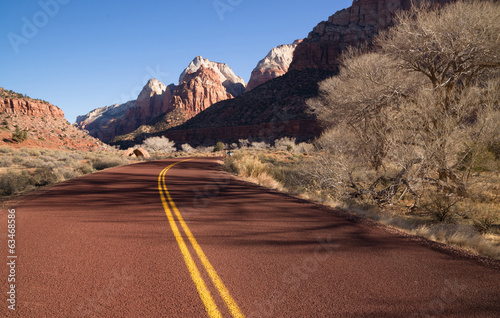 Road Sunrise High Mountain Buttes Zion National Park Desert SW