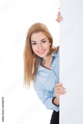 Smiling Woman Holding Placard