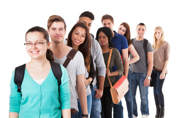 Multiethnic University Students Standing In A Row