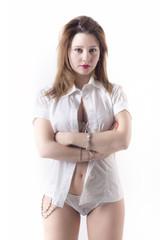 Beautiful Woman Wearing Unbuttoned Shirt