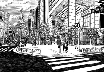 Tokyo urban city office buildibgs and pedestrains view drawing i