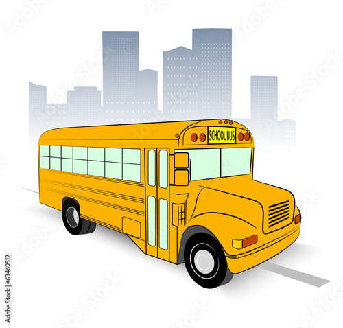 school bus on city background