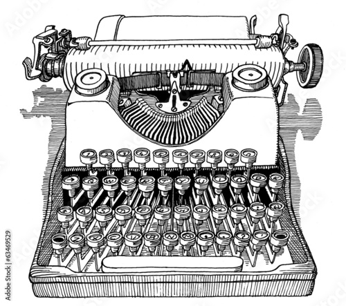 Vintage typewriter front view drawing ink isolated on white back