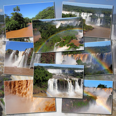 Collage made from pictures of Iguazu falls and river.