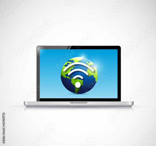 laptop and globe wifi signal illustration design