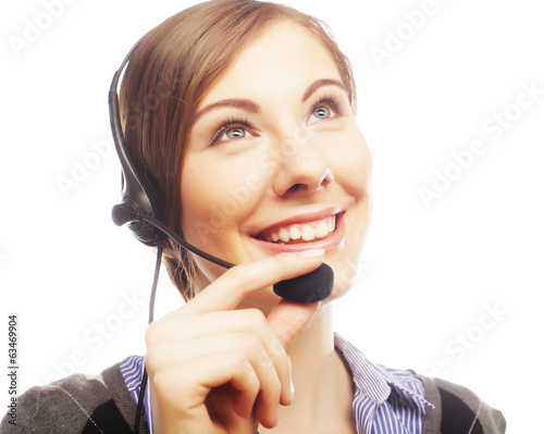 Close up portrait of Woman customer service worker