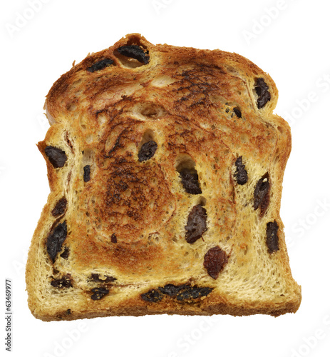Cinnamon Swirl Raisin Bread Slice