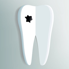 tooth as a notepad with ink drop
