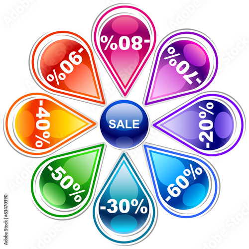 Colorful discount labels 10