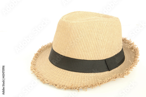 brown hat for traveling isolated on white