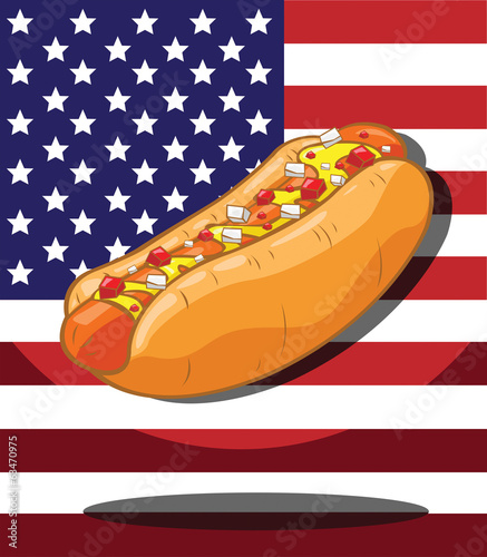Hot dog. America Flag background