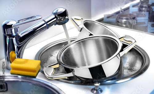 Tableware in sink