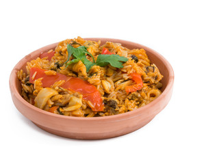 Cuban Cuisine Paella Style over white background