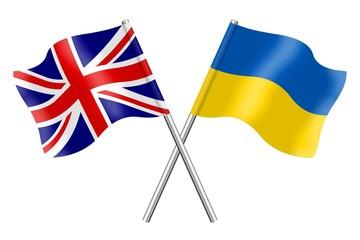 Flags: United Kingdom and Ukraine