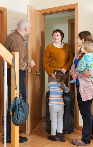 grandmother coming to family  home