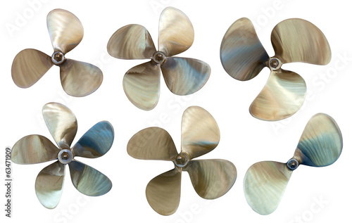 Set of boat propellers. Isolated over white