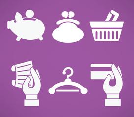 flat banking, money and shopping icons