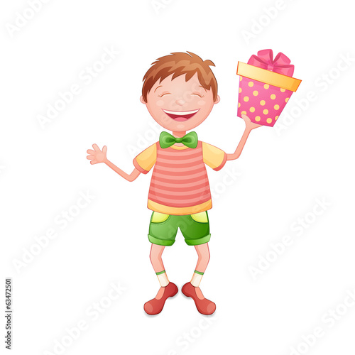 Happy boy holding a gift box isolated on white.