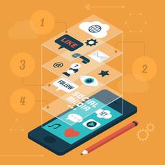 Flat modern design vector of social media icons
