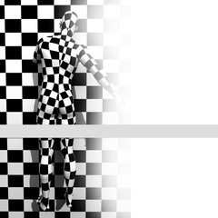 checkered man on the checkered wall
