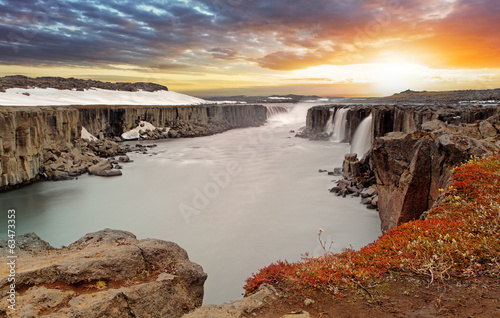 Selfoss waterfall in Vatnajokull National Park, Northeast Icelan