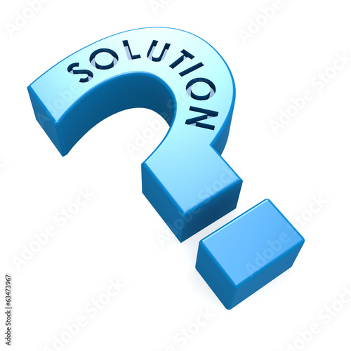 canvas print picture Blue solution isolated question mark