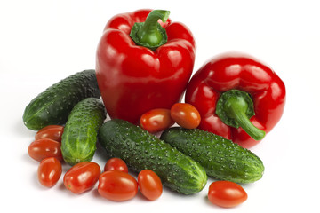 sweet red bell pepper, cucumbers and tomatoes
