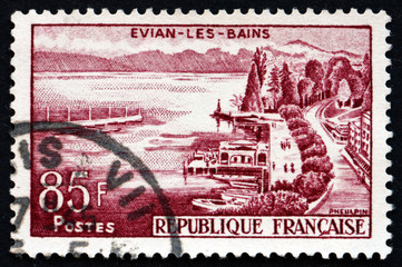 Postage stamp France 1959 View of Evian-les-Bains