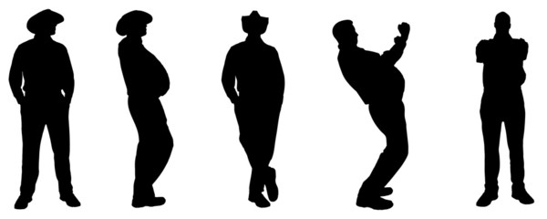 Vector silhouette of a fat man.