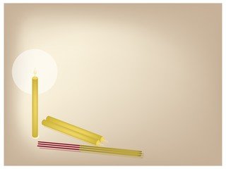 Joss Sticks and Candles on Brown Background