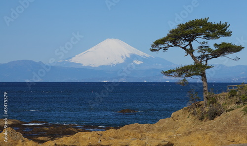 Mountain fuji and the ocean from sagami bay , yokosuka japan