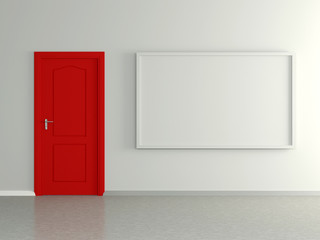 Modern home interior with picture and red door. 3D.