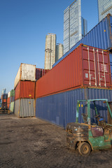 Cargo Container in Port in Hong Kong