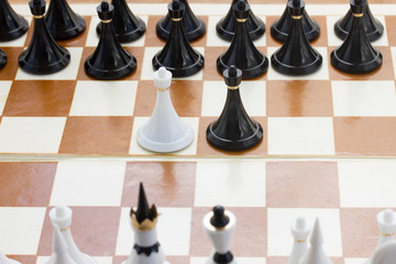 white and black pawn in front of black chess